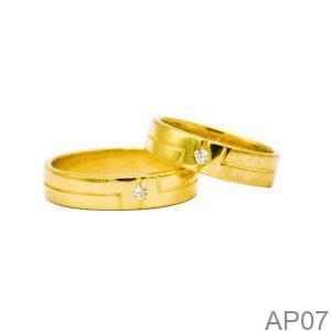 Nhẫn Cưới Vàng Vàng 18k Đính Đá CZ - AP07