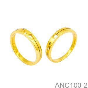 Nhẫn Cưới Vàng Vàng 18k Đính Đá CZ - ANC100-2