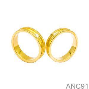 Nhẫn Cưới Vàng Vàng 18k Đính Đá CZ - ANC91