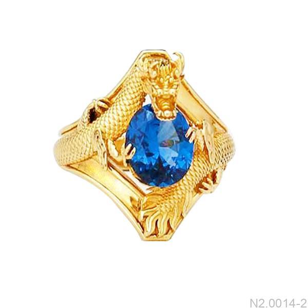 Nhẫn Nam Rồng Vàng 18K Đá Xanh Dương - N2.0014-2