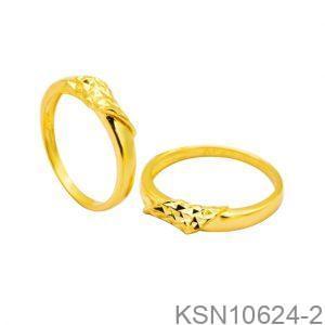 Nhẫn Cưới Vàng Vàng 18k Đính Đá CZ - KSN10624-2