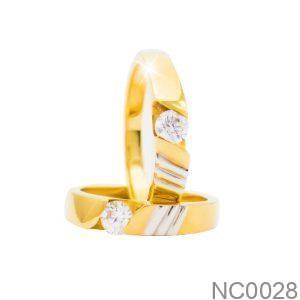 Nhẫn Cưới Hai Màu Vàng 18k Đính Đá CZ - NC0028
