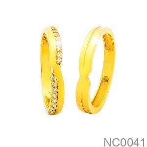 Nhẫn Cưới Vàng Vàng 18k Đính Đá CZ - NC0041