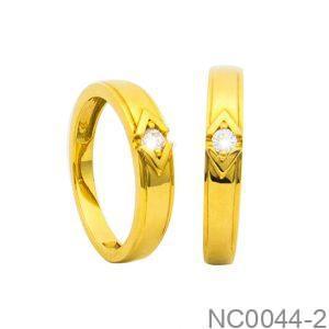 Nhẫn Cưới Vàng Vàng 18k Đính Đá CZ - NC0044-2