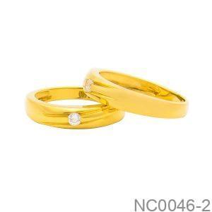 Nhẫn Cưới Vàng Trắng 18K Đính Đá CZ - NC0046-2