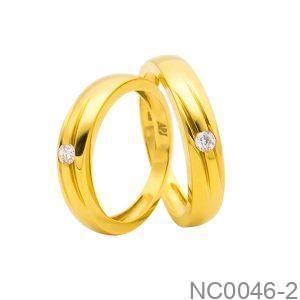 Nhẫn Cưới Vàng Vàng 18K Đính Đá CZ - NC0046-2