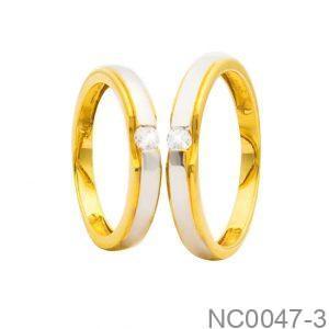 Nhẫn Cưới Hai Màu Vàng 18k Đính Đá CZ - NC0047-3