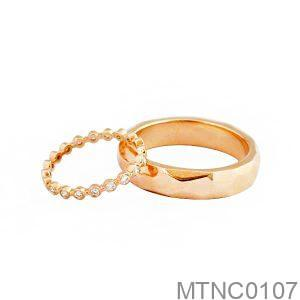 Nhẫn Cưới Vàng Hồng 18k Đính Đá CZ - MTNC0107