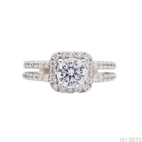 Nhẫn đính hôn vàng trắng N1.0272-2