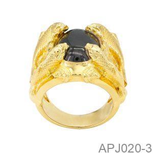 Nhẫn Nam Cá Chép Vàng Vàng 18K Đá Đen - APJ020-3