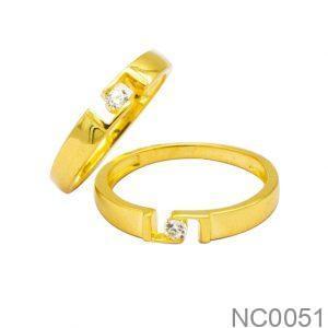 Nhẫn Cưới Vàng Vàng 18k Đính Đá CZ - NC0051