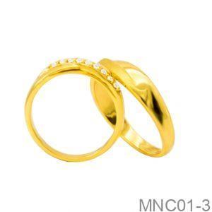 Nhẫn Cưới Vàng Vàng 18K Đính Đá CZ - MNC01-3