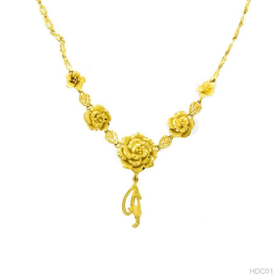 Dây chuyền vàng cưới hình hoa hồng HDC01