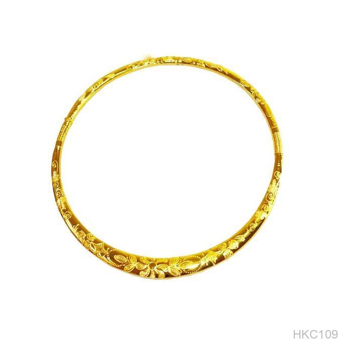 kiền cổ cưới 24k chạm hoa HKC109