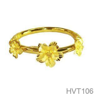 Vòng tay cưới vàng 24k hoa mai HVT106 APJ