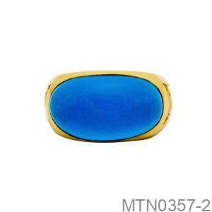 Nhẫn Nam Rồng Vàng Vàng 18K Đá Xanh Dương - MTN0357-2