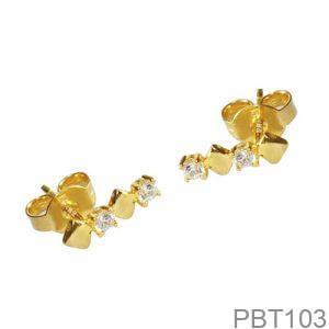 Bông Tai Vàng 18K Đính Đá CZ - PBT103