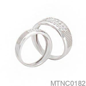 Nhẫn Cưới Vàng Trắng 10k Đính Đá CZ - MTNC0182
