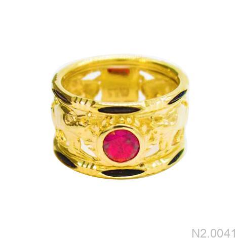 N2.0041-1 nhẫn vàng nam lông voi 18k apj