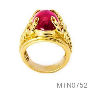Nhẫn Nam Bọ Cạp Vàng Vàng 18K Đá Đỏ - MTN0752
