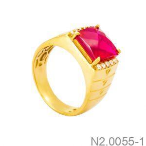 Nhẫn Nam Vàng Vàng 18k Đá Đỏ - N2.0055-1