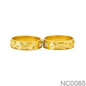 Nhẫn Cưới Vàng Vàng 18k Đính Đá CZ - NC0065