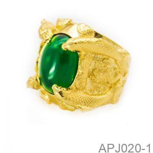 Nhẫn Nam Cá Chép Vàng Vàng 18K Đá Xanh Lục - APJ020-1