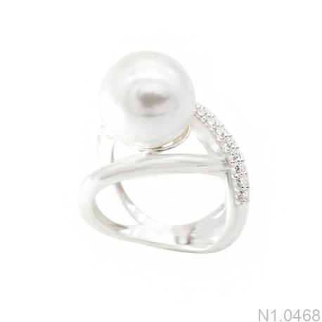 Nhẫn Nữ Ngọc Trai Vàng Trắng 10k - N1.0468