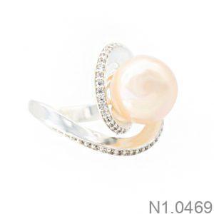 Nhẫn Nữ Ngọc Trai Vàng Trắng 10k - N1.0469