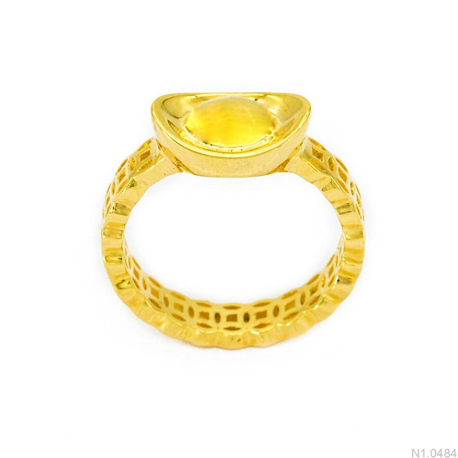 N1.0484 Nhẫn nữ kim tiền vàng 18k hình thỏi vàng