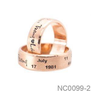 Nhẫn Cưới Vàng Hồng 10k - NC0099-2