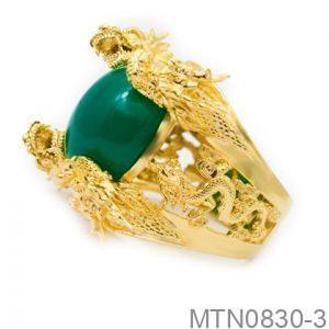 Nhẫn Nam Rồng Vàng Vàng 18K Đá Xanh Lục - MTN0830-3