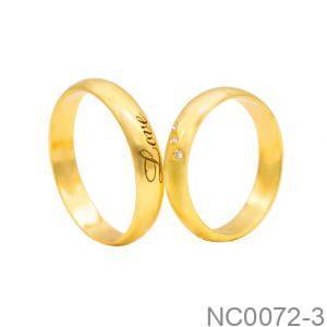 Nhẫn Cưới Vàng Vàng 18k Đính Đá CZ - NC0072-3
