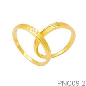 Nhẫn Cưới Vàng Vàng 18K Đính Đá CZ - PNC09-2