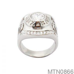 Nhẫn Nam Vàng Trắng 10K Đính Đá CZ - MTN0866