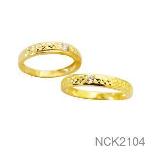 Nhẫn Cưới Vàng Vàng 18k Đính Đá CZ - NCK2104