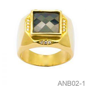 Nhẫn Nam Vàng Vàng 14K Đính Đá CZ - ANB02-1