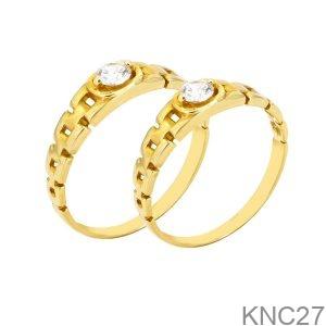 Nhẫn Cưới Vàng Vàng 18k Đính Đá CZ - KNC27