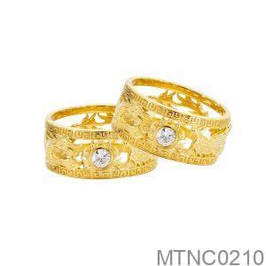 Nhẫn Cưới Vàng Vàng 18k Đính Đá CZ - MTNC0210
