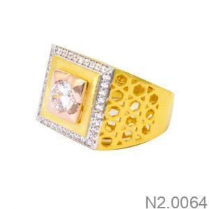 Nhẫn Nam Vàng Vàng 18k Đính Đá CZ - N2.0064
