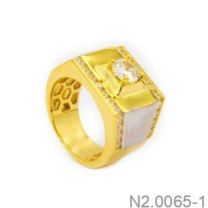 Nhẫn Nam Hai Màu Vàng 18k Đính Đá CZ - N2.0065-1