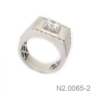 Nhẫn Nam Vàng Trắng 10k Đính Đá CZ - N2.0065-2