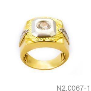 Nhẫn Nam Hai Màu àng 18K Đính Đá CZ - N2.0067-1