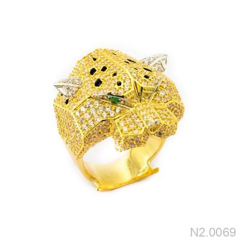 Nhẫn Nam Vàng Vàng 10K Đính Đá CZ - N2.0069