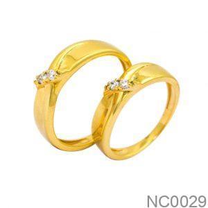 Nhẫn Cưới Vàng Vàng 18k Đính Đá CZ - NC0029