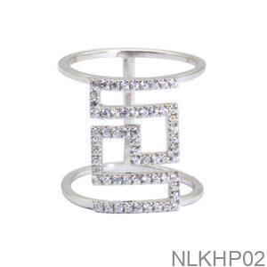 Nhẫn Nữ Vàng Trắng 18K Đính Đá CZ - NLKHP02