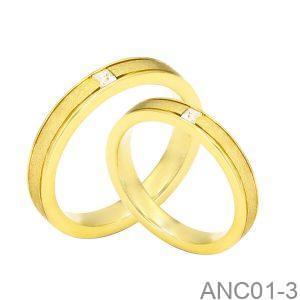 Nhẫn Cưới Vàng Vàng 18K Đính Đá CZ - ANC01-3