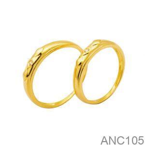 Nhẫn Cưới Vàng 18k Đính Đá CZ - ANC105