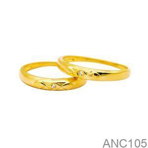 Nhẫn Cưới Vàng Vàng 18k Đính Đá CZ - ANC105
