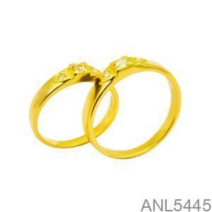 Nhẫn Cưới Vàng Vàng 18k Đính Đá CZ - ANL5445